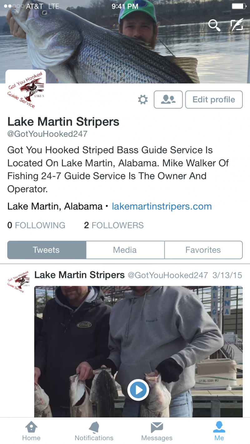 Got You Hooked Striped Bass Guide Service - Twitter Link